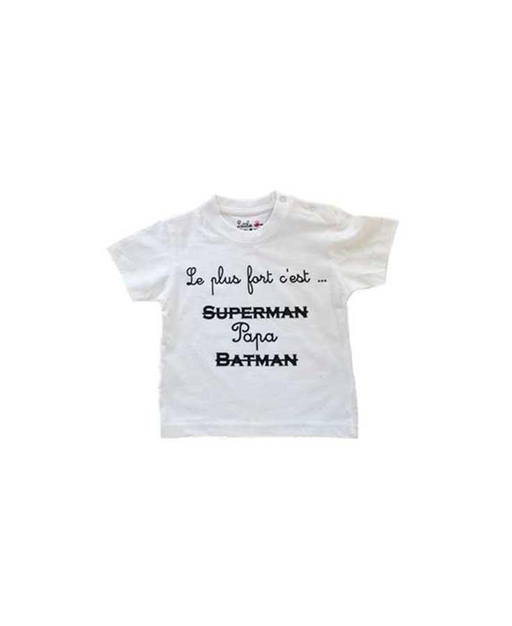 t-shirt papa bébé blanc