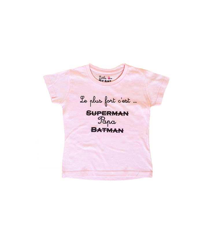 T-Shirt Papa enfant rose