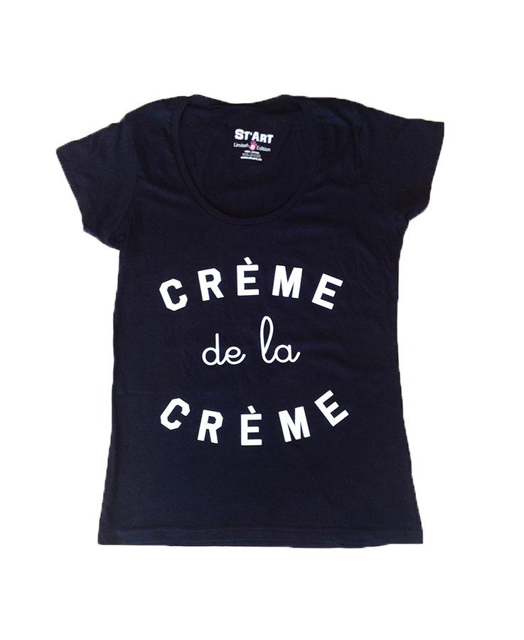 T-shirt crème de la crème femme noir